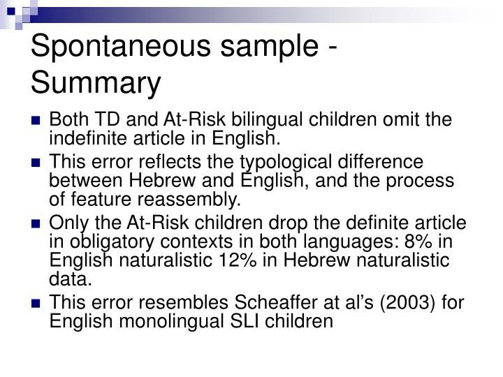 Spontaneous sample - Summary