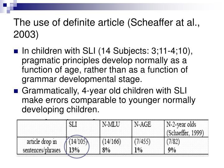 The use of definite article (Scheaffer at al., 2003)