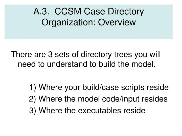 A.3.  CCSM Case Directory Organization: Overview