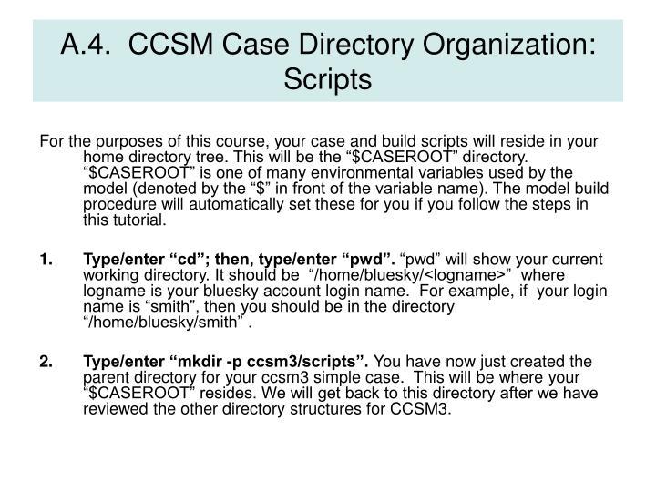 A.4.  CCSM Case Directory Organization:  Scripts