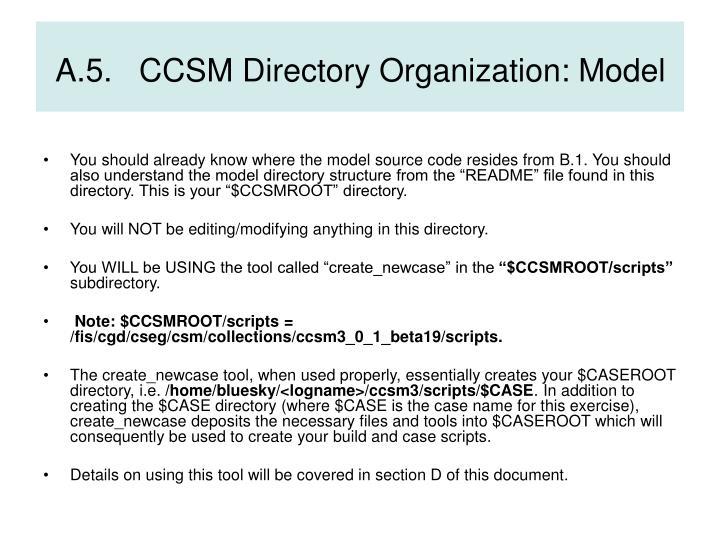 A.5.   CCSM Directory Organization: Model