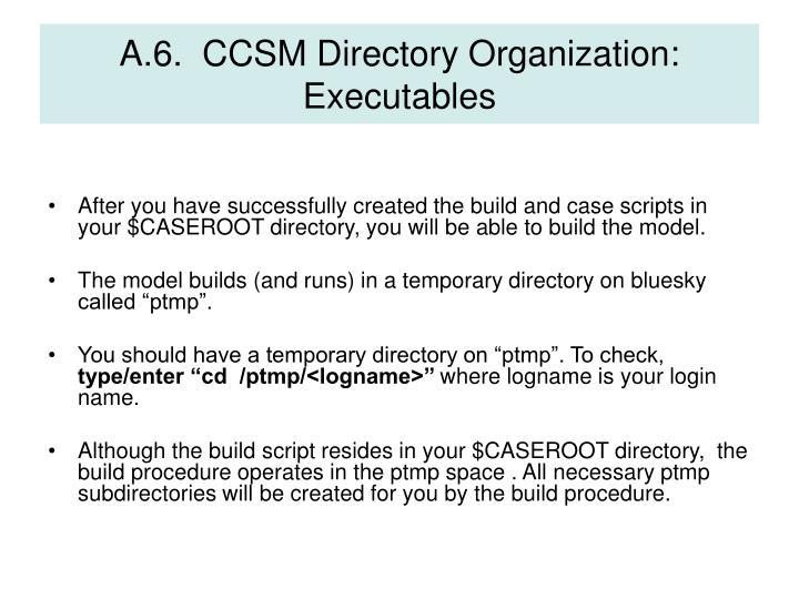 A.6.  CCSM Directory Organization: Executables