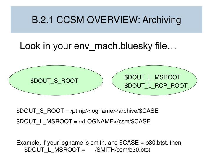 B.2.1 CCSM OVERVIEW: Archiving