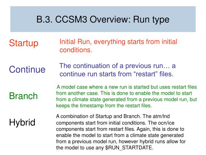 B.3. CCSM3 Overview: Run type