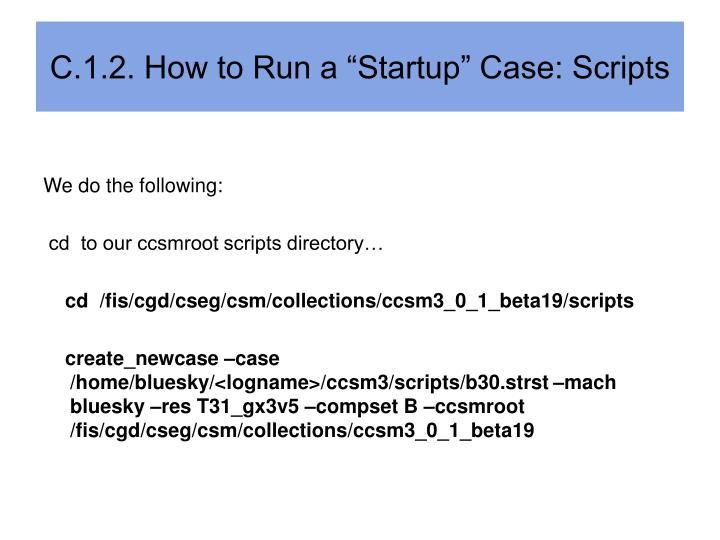 "C.1.2. How to Run a ""Startup"" Case: Scripts"