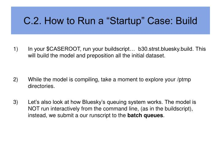 "C.2. How to Run a ""Startup"" Case: Build"