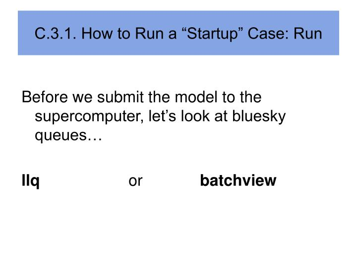 "C.3.1. How to Run a ""Startup"" Case: Run"