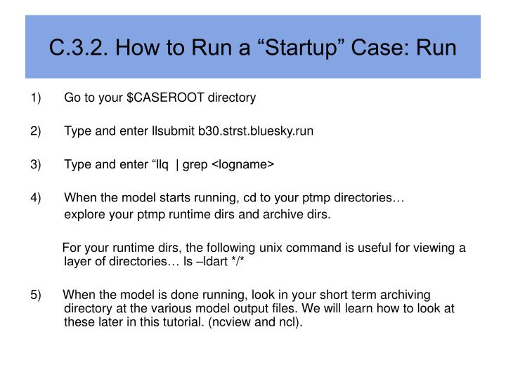"C.3.2. How to Run a ""Startup"" Case: Run"
