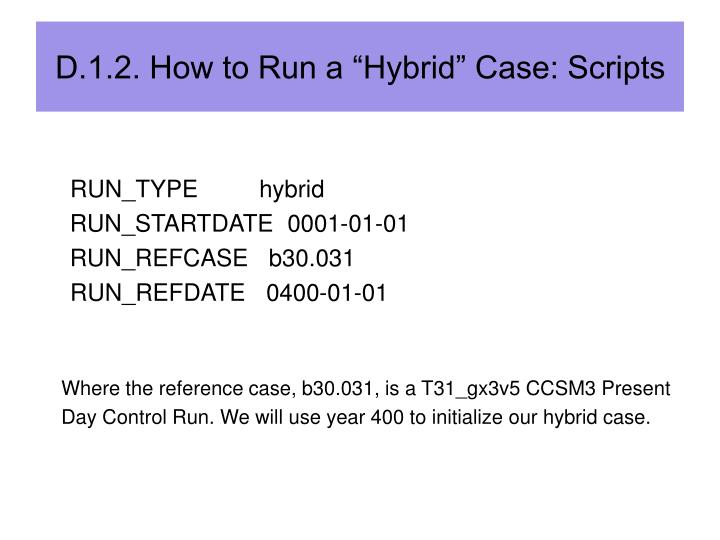 "D.1.2. How to Run a ""Hybrid"" Case: Scripts"