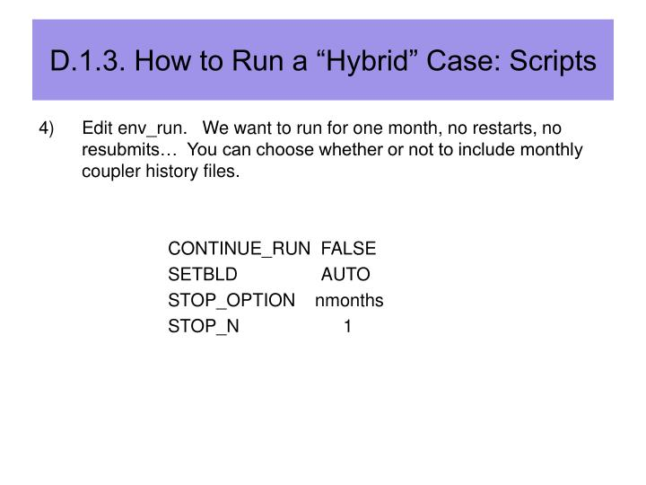 "D.1.3. How to Run a ""Hybrid"" Case: Scripts"