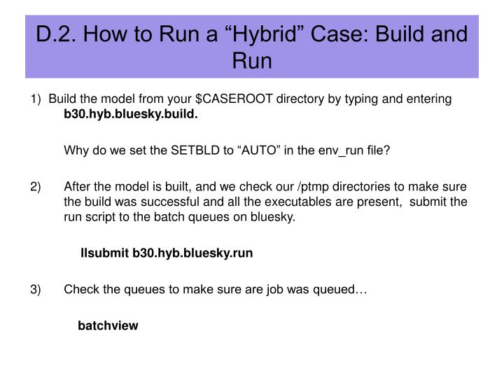 "D.2. How to Run a ""Hybrid"" Case: Build and Run"
