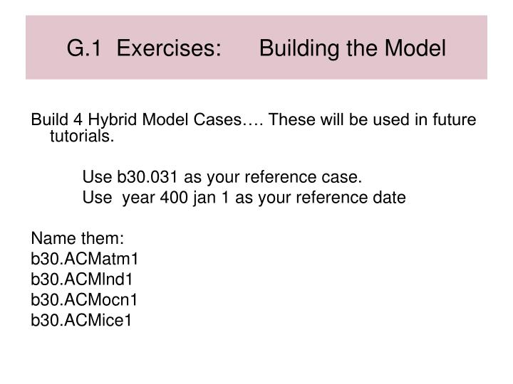 G.1  Exercises:      Building the Model