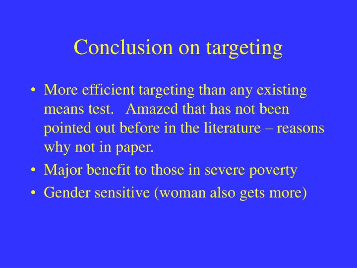 Conclusion on targeting