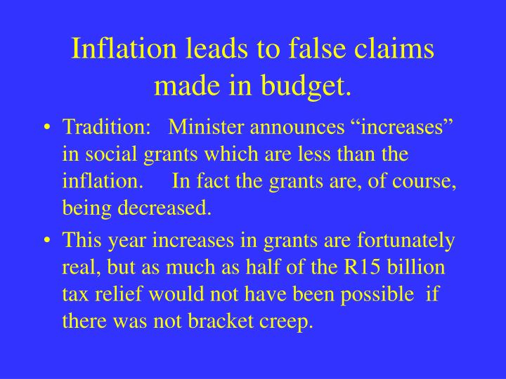Inflation leads to false claims made in budget.