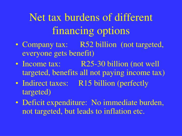 Net tax burdens of different financing options