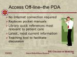 access off line the pda