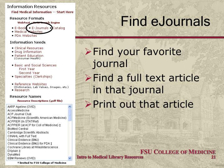 Find eJournals