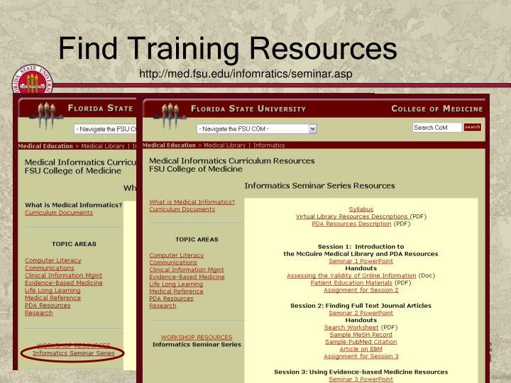 Find Training Resources