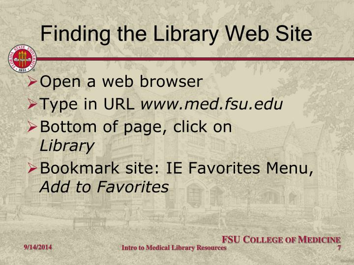 Finding the Library Web Site