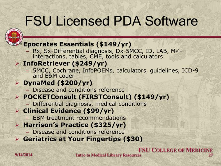 FSU Licensed PDA Software