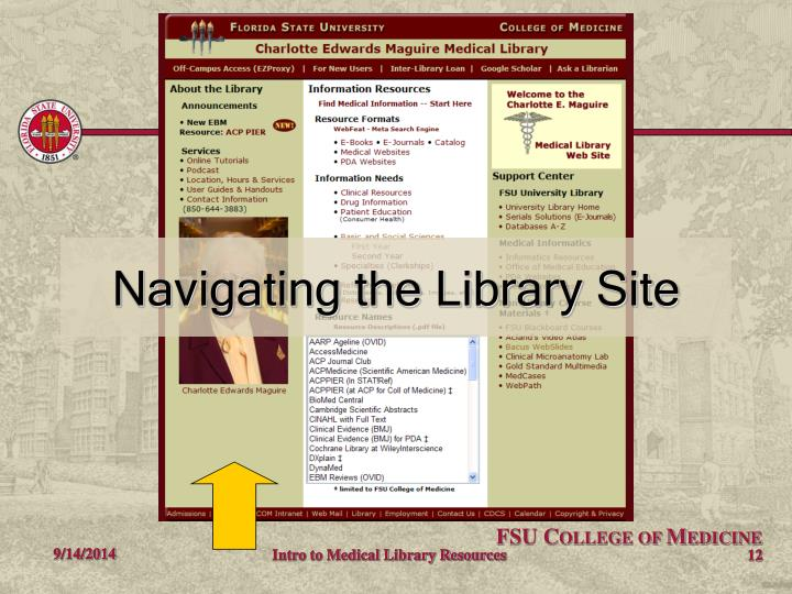 Navigating the Library Site