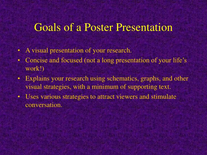 Goals of a Poster Presentation