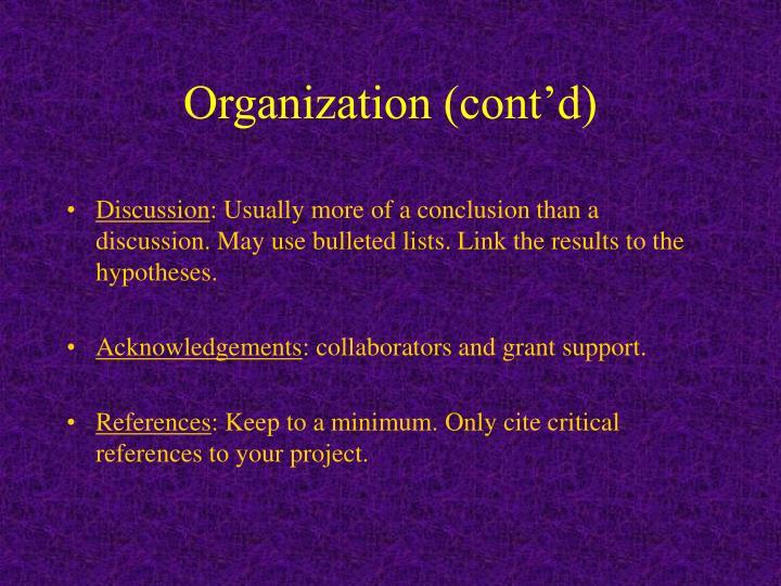 Organization (cont'd)