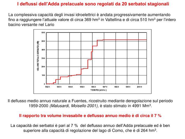 I deflussi dell'Adda prelacuale sono regolati da 20 serbatoi stagionali