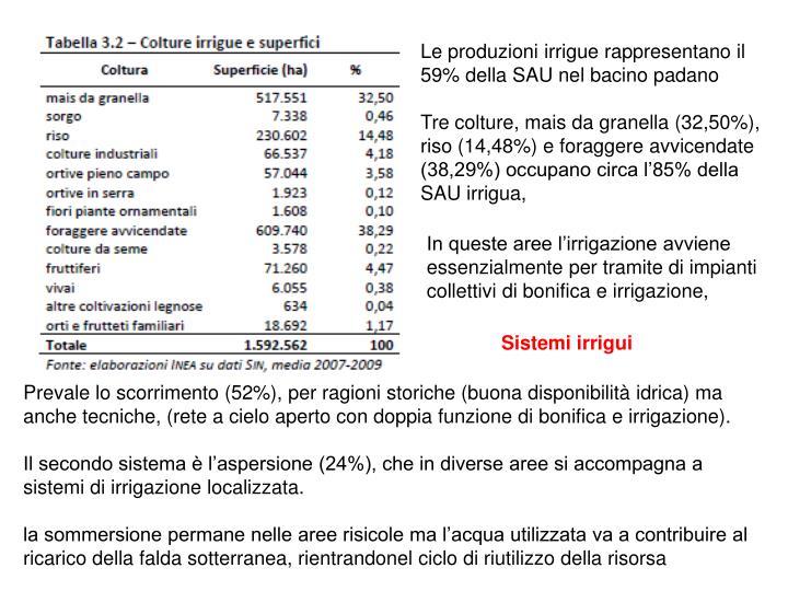 Le produzioni irrigue rappresentano il 59% della SAU nel bacino padano