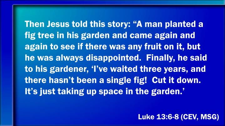 "Then Jesus told this story: ""A man planted a fig tree in his garden and came again and again to see if there was any fruit on it, but he was always disappointed.  Finally, he said to his gardener, 'I've waited three years, and there hasn't been a single fig!  Cut it down.  It's just taking up space in the garden.'"