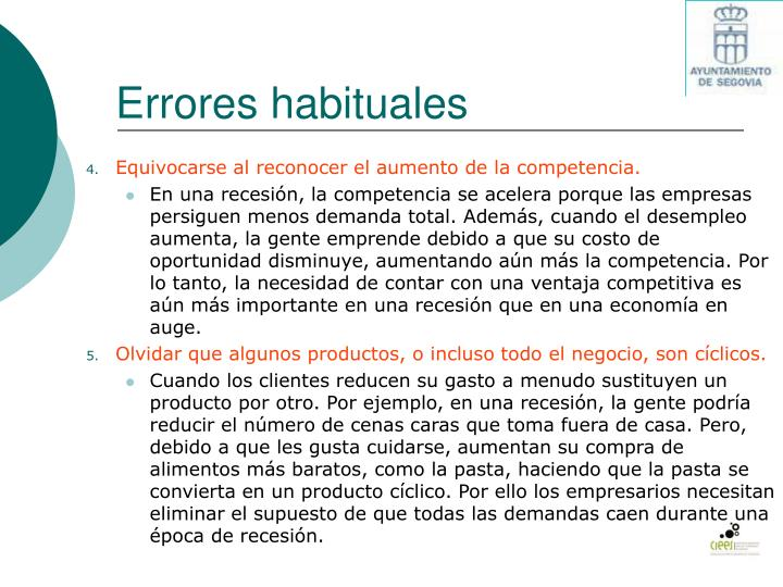 Errores habituales