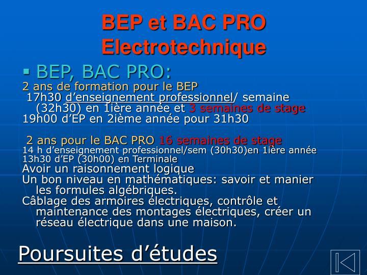 BEP et BAC PRO Electrotechnique