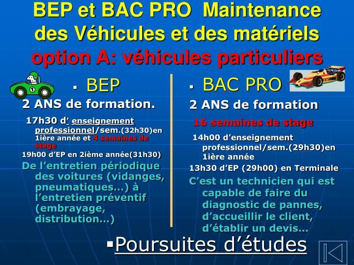 BEP et BAC PRO  Maintenance
