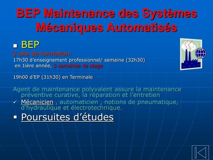 BEP Maintenance des Systèmes Mécaniques Automatisés