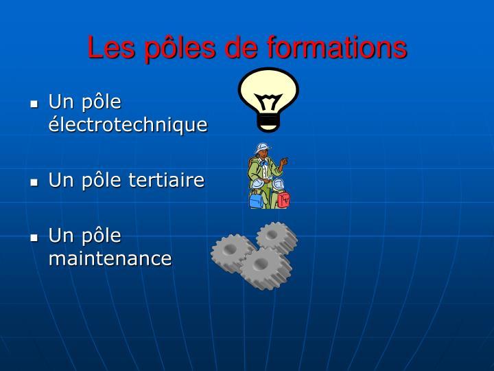 Les pôles de formations