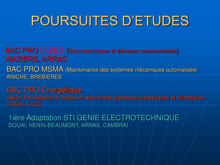 POURSUITES D'ETUDES