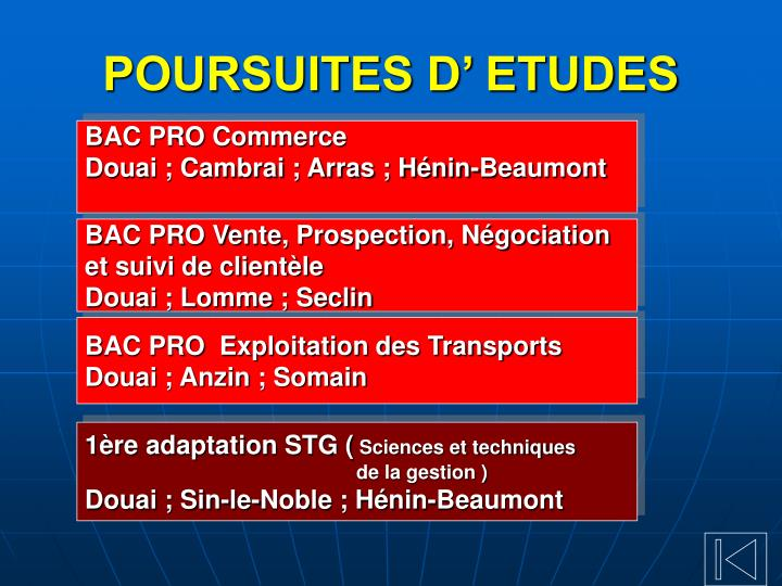 POURSUITES D' ETUDES