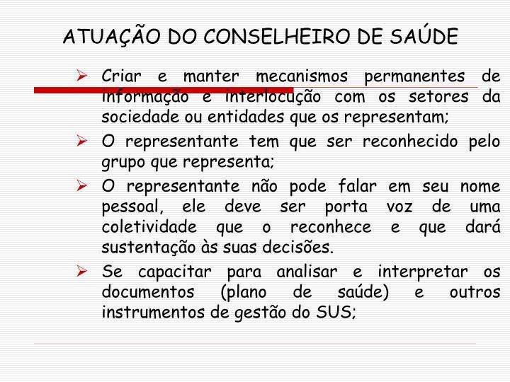 ATUAÇÃO DO CONSELHEIRO DE SAÚDE