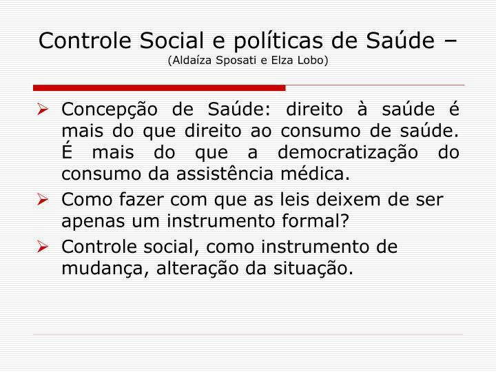 Controle Social e políticas de Saúde