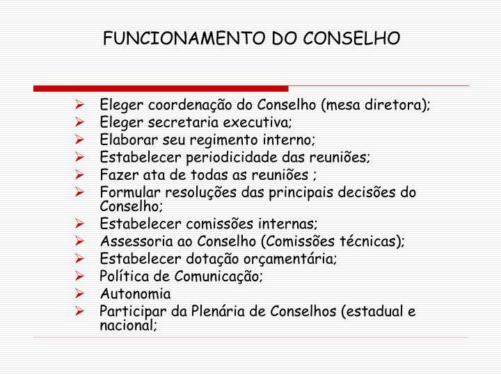 FUNCIONAMENTO DO CONSELHO