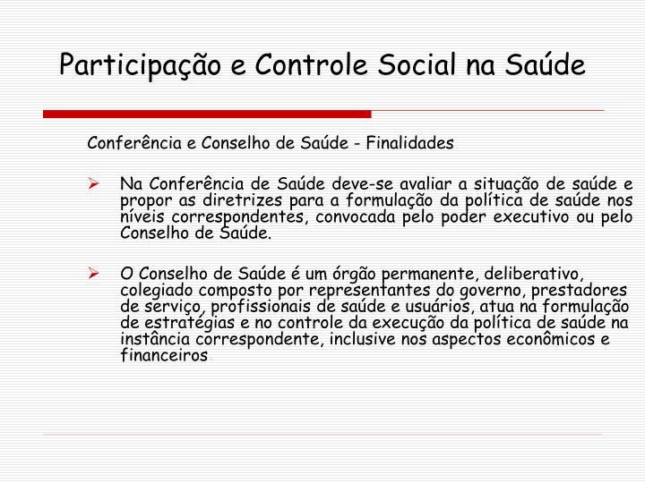Participação e Controle Social na Saúde