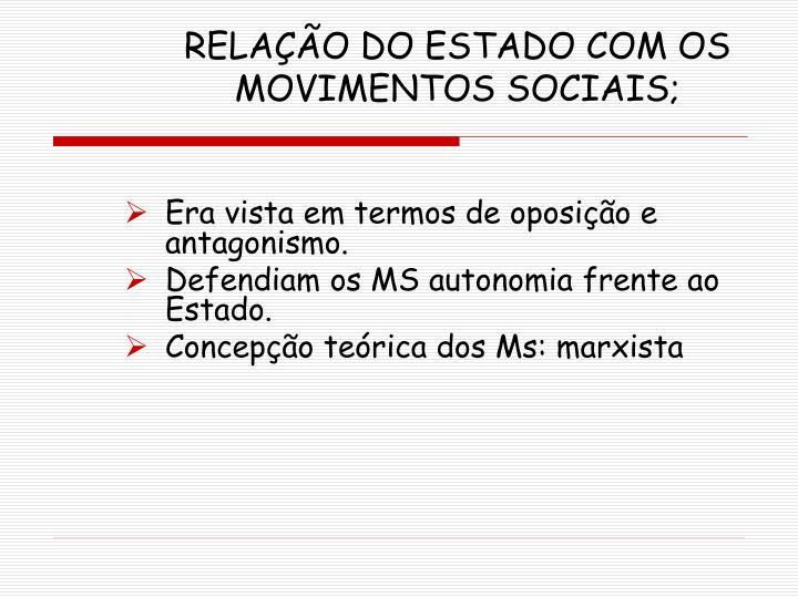 RELAÇÃO DO ESTADO COM OS MOVIMENTOS SOCIAIS;