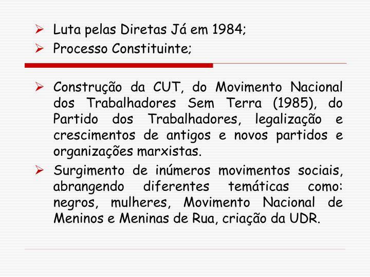 Luta pelas Diretas Já em 1984;
