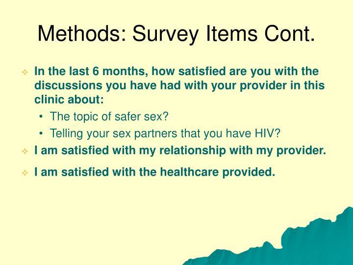 Methods: Survey Items Cont.