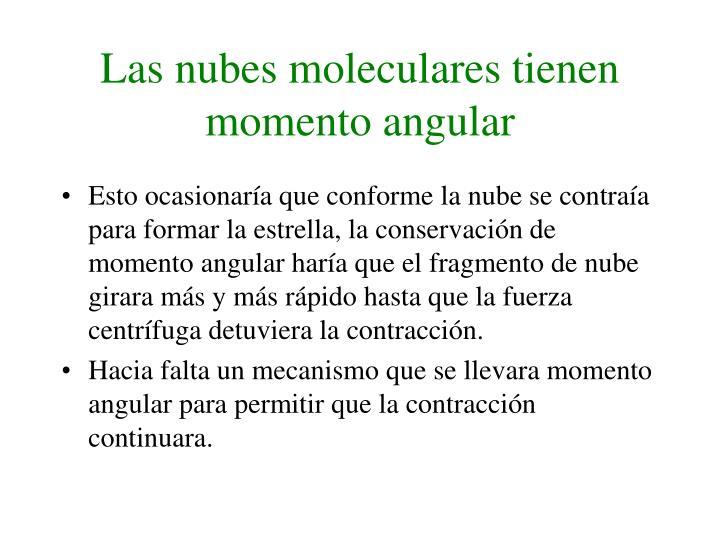 Las nubes moleculares tienen momento angular