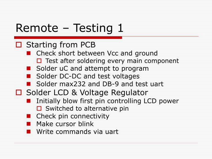 Remote – Testing 1