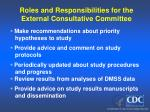 roles and responsibilities for the external consultative committee