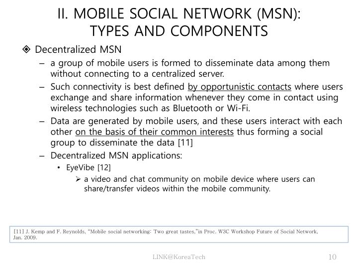 II. MOBILE SOCIAL NETWORK (MSN):