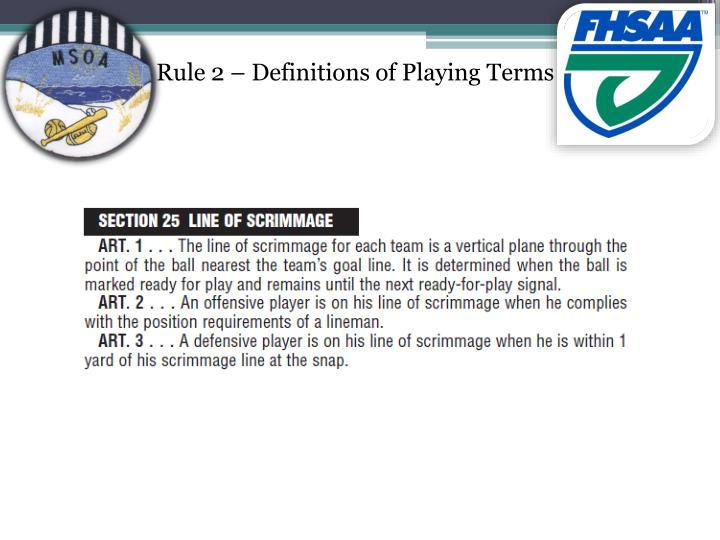 Rule 2 – Definitions of Playing Terms