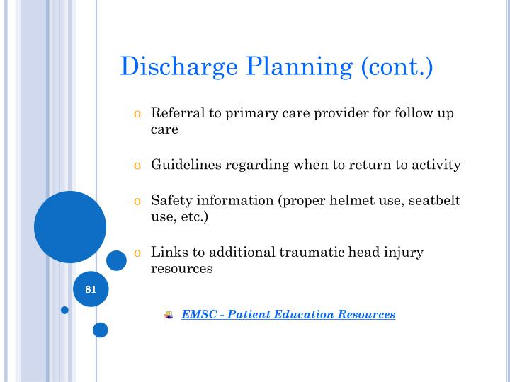 Discharge Planning (cont.)
